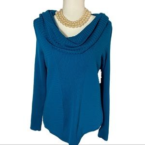 New Directions Peacock Blue Cowl Neck Sweater PL